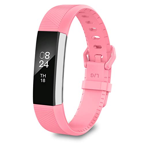 Strap Wrist Original (LEEFOX Fitbit Alta Bands, Classic Accessory Band Fit Bit Alta and Alta HR Wristband Watch Buckle Replacement Strap for Original Fitbit Alta/Fitbit Alta HR Fitness Tracker, Pink Large(John1-12))