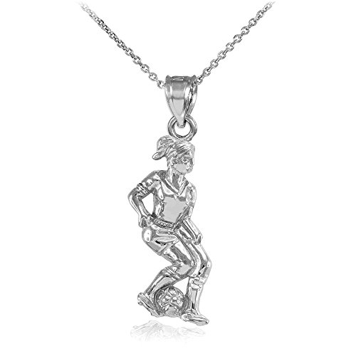 Sports Charms Female Soccer Player Futbol Necklace in Sterling Silver, 16