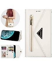 Miagon for iPhone 7 Plus/8 Plus Crossbody Zipper Case,Wallet Purse Handbag with Wristlet & Shoulder Strap Card Slots Pocket PU Leather Flip Kickstand Cover for iPhone 7 Plus/8 Plus