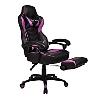 Gaming Chair for Adults with Footrest,High Back Swivel Computer Office Chair With Pillows and Lumber Support (Black+Purple)