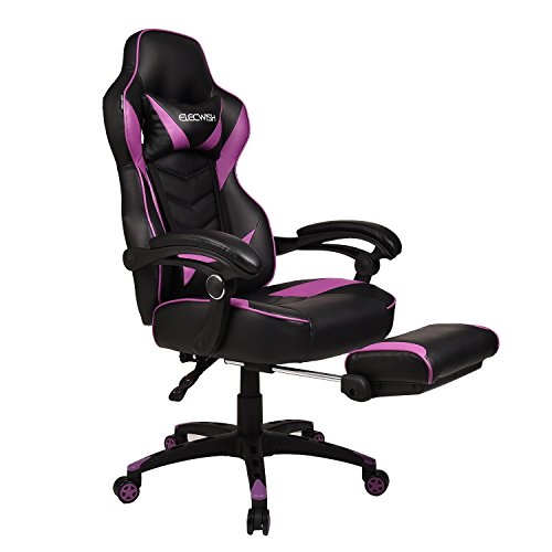 ELECWISH Purple Computer Gaming Chair with Wide Seat, High Back PU Leather Video Game Chair, Ergonomic Adjustable Racing Chair with Headrest and Lumbar Support
