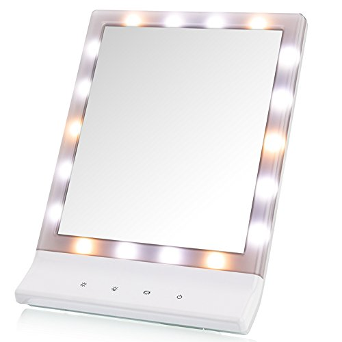 WanEway Lighted Mirror with LED Lights for Makeup Vanity Cosmetic, 3 Dimmable Illumination Settings, Battery Operated and USB Plug-in Options, Wall-mounted and Tabletop Options