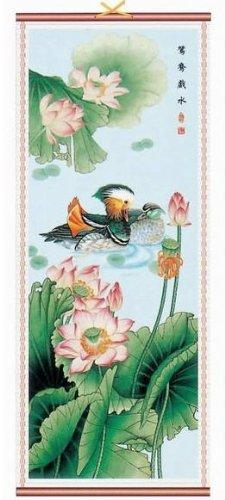 Mandarin Ducks Rattan Scroll Picture Asian Art Home Decor