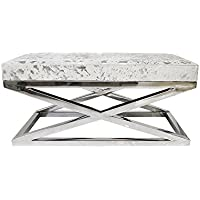 Pasargad Forest Collection Silver-colored Steel and Cowhide Bench