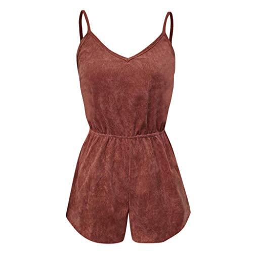 Psunrise Mono Women Fashion Causal Adjustable Strap V-Neck Elastic Waist Sleeveless Short Camis Jumpsuit(L, Black) by Psunrise (Image #2)