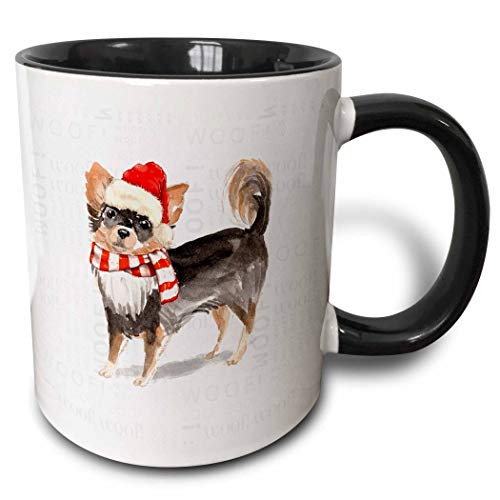 3dRose Doreen Erhardt Christmas Collection - Pet Lover Holiday Long Haired Chihuahua in a Scarf and Santa Hat - 15oz Two-Tone Black Mug (mug_299918_9)