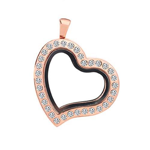 Jesse Ortega Heart Shaped Crystal Glass Living Memory Locket Pendant Necklace fit Floating Charm (Rose Gold) ()