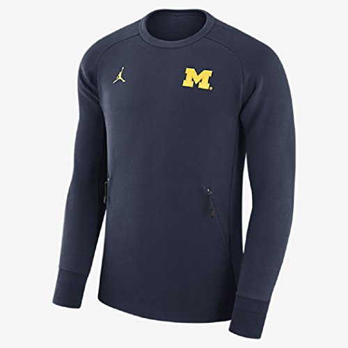 Nike Men's Air Jordan University of Michigan Wolverines 465 Icon Fleece Crew Sweatshirt (Size Medium) Navy Blue Maize by NIKE