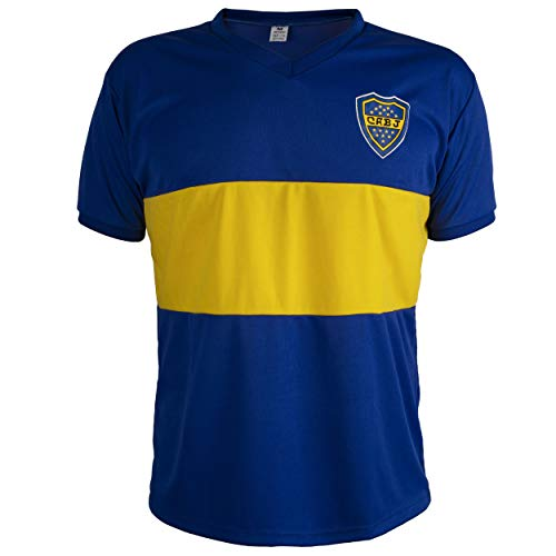 Boca Juniors Shirt Retro Football Short Sleeve Mens Top - L Blue