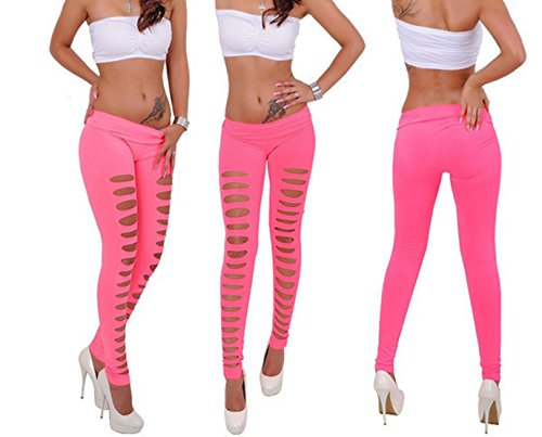 d291c408b8351 Galleon - Women's Candy Color Holes Tights Capri Leggings Pants For Yoga  Running Fitness Sports (Pink Front Holes)