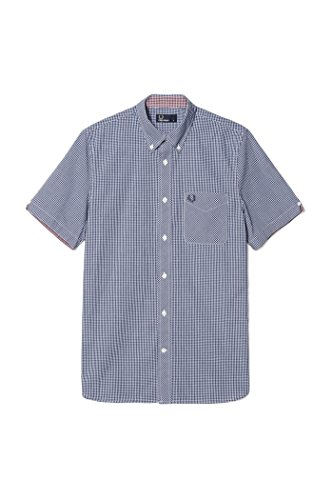 Fred Perry Gingham Shirt - Fred Perry Classic Gingham Short Sleeve Cotton Woven Royal Blue Button Down Shirt X-Large