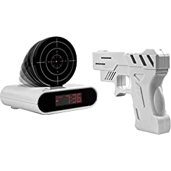 iKKEGOL Game Alarm Clock with Infrared Laser Gun - LED Digital Display Game Toys Gifts For Christmas New Year (White)