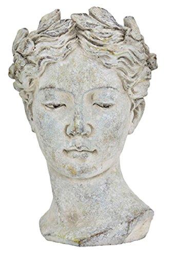 Keramik Pflanztopf Büste Valo grau 27 cm Blumentopf Dekotopf Übertopf Skulptur