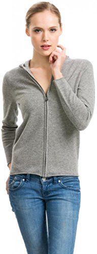 Citizen Cashmere Women's Grey Zip Hoodie - 100% Cashmere (41 102-05-04), X-Large