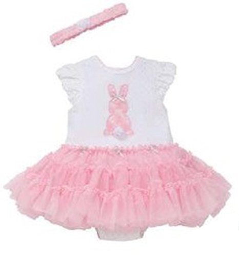 Little Me Baby Girls Tutu Popover with Headband Bunny, White/Pink (12 Months)