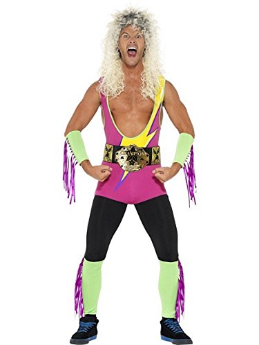 Smiffy's Men's Retro Wrestler Costume, Bodysuit, Belt, Arm and Leg Cuffs,Back to The 90's, Serious Fun, Size M, (Ladies Superhero Costumes Uk)