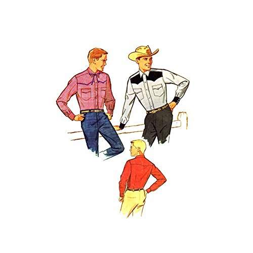 1960s Mens Fitted Western Shirt Simplicity 4703 Vintage Sewing Pattern Check Offers for Size