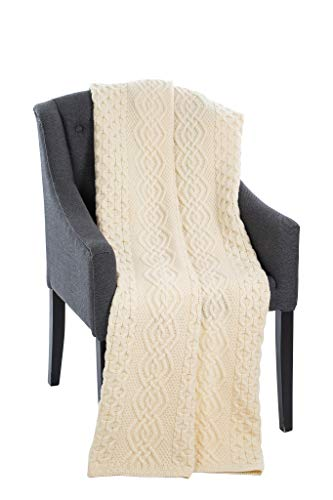 SAOL Honeycomb Merino Wool Aran Throw (Natural)