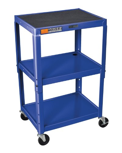 LUXOR AVJ42-RB Adjustable Height Steel Cart, 42'' H Table, Royal Blue by Luxor