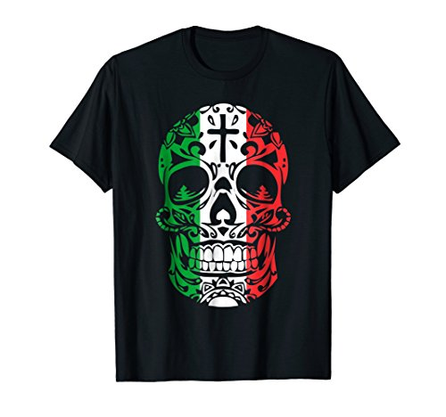 Mexican Pride Shirt: Mexican Flag Skull Day of the Dead Tee