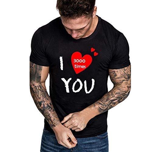 ort Sleeve O-Neck Tops Fashion I Love You 3000 Times Print Broadcloth Blouse T-Shirts ()