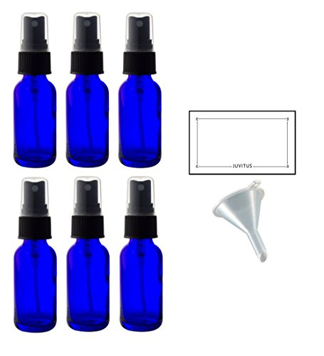 (2 oz Cobalt Blue Glass Boston Round Fine Mist Spray Bottle (6 pack) + Funnel and Labels for essential oils, aromatherapy, food grade, bpa free)