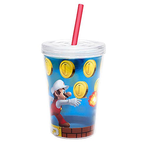 Zak Designs Nintendo Super Mario Brothers Double-Wall Tumbler Cup with Straw, 13 oz (Super Mario Brothers Cups compare prices)