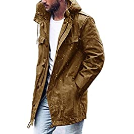 Men's Fall Winter Pockets Hooded Casual Thermal Trench Coat Cardigan