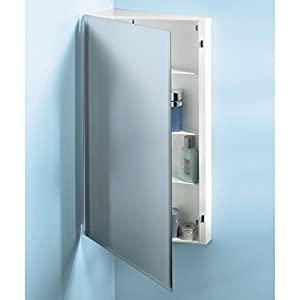 broannutone 867p36wh corner singledoor surface mount medicine cabinet with 3shelves