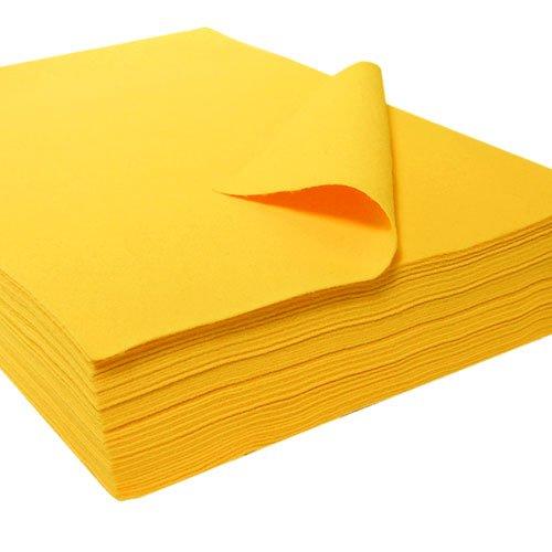 """Acrylic Felt Sheet 9"""" X 12"""": 25 PCS, Yellow"""