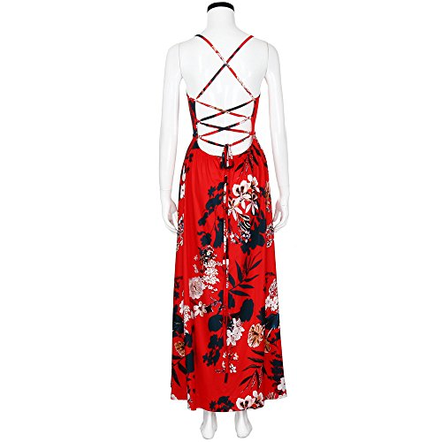 Sleeveless Party Backless Clearance Bandage Split Dress Women Maxi Floral Red Long Lady Dresses Evening Chanyuhui v8Rxq