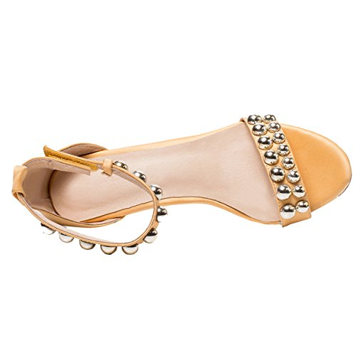 Femme 7cm JYshoes Cheville Gelb Bride RwEq7TEO