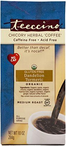 Teeccino Dandelion Turmeric Chicory Herbal Coffee Selection, Gluten Free, Caffeine Free, Acid Free, 10-Ounce