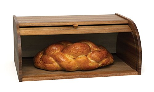 "Lipper International 1146 Acacia Wood Rolltop Bread Box, 16"" x 10-3/4"" x 7"""