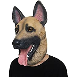 Lubber German Shepherd Dog Latex Animal Head Mask for Halloween Costume