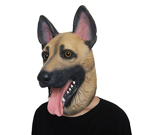 Lubber German Shepherd Dog Animal Latex Head Mask for Halloween Costume]()