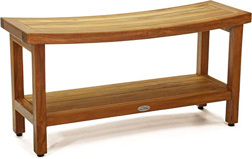 "AquaTeak Patented 36"" Sumba Teak Shower Bench with Shelf"