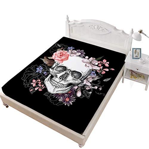 JARSON Girls Sugar Skull Fitted Sheet Queen Size,Rose Floral Printed Sheet Deep Pocket Bedding,Halloween Home Decor -