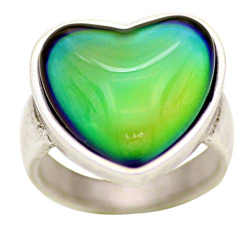 Mojo Antique Sterling Silver Plated Ring with Heart Shape Stone Color Change Mood Rings MJ-RS056 (7)