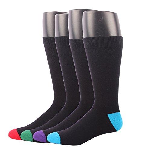 RioRiva Men's Dress Socks Mid Calf Crew Tube Socks for Business Grey Black Navy,BSK05 - Pack of 4,One Size (Halloween Chicken Fingers)