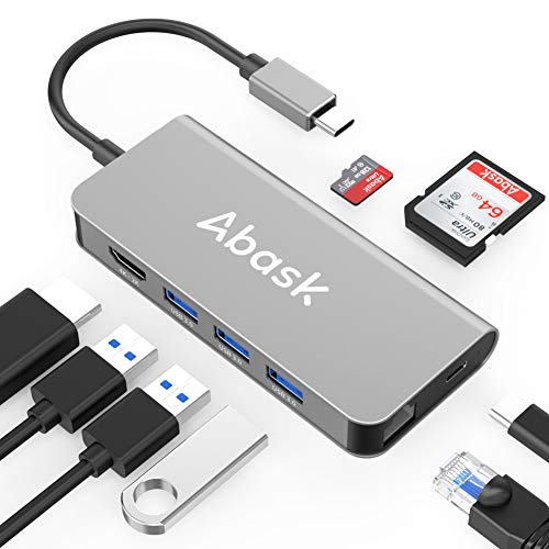 USB C Hub 8 in 1 USB-C Hub Adapter with 4K HDMI, RJ45 Ethernet Port, 3 USB 3.0 Ports, SD/TF Cards Reader, USB C Power Delivery, Compatible with MacBook Pro, MacBook Air and More (Space Gray)