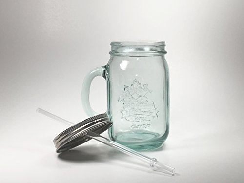 Authentic Mason jar mug with handle, 100% recycled glass, 18oz tumbler, top with plastic straw. (Glass Recycled Jar)