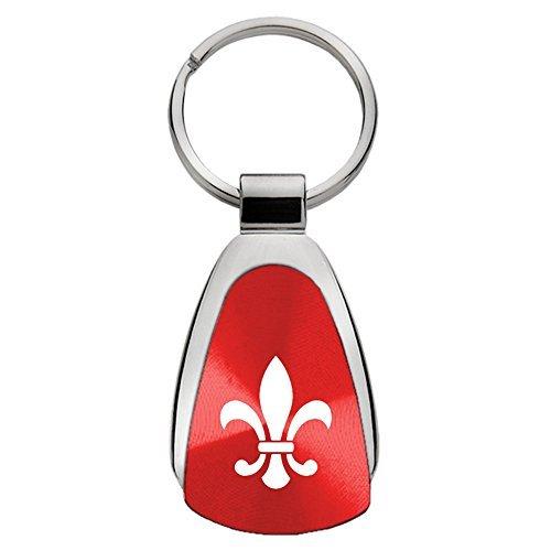 Fleur-De-Lis on Red Teardrop Keychain