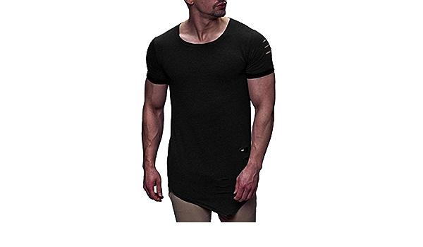 Camiseta para Hombre, Xinantime Personalidad de Moda Hole T ...
