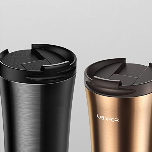 0935a630e42 Leidfor Insulated Tumbler Coffee Travel Mug Vacuum Insulation Stainless  Steel with Lid Leakproof 17oz BLACK