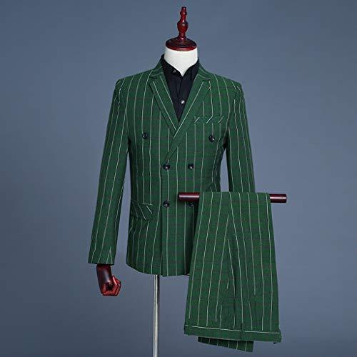 Costume Fashion Vert Blazer Pour À Ensembles Pièces Tonsee Boutonnage Costumes Fit Pantalons Hommes 2 Double Fête De Revers Slim W1FgxOU