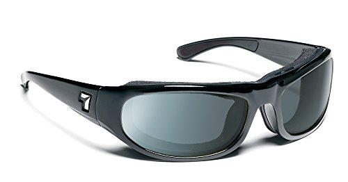 7eye Whirlwind Photochromic Sunglasses, Black Glossy Frame, Gray Eclypse Lens, - Motorcycle Photochromic Sunglasses