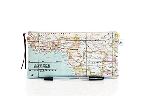 Africa pencil case, Map pencil case, Back to school, Gadget pouch, Make Up bag, World map, Teacher gift, Geography, Map bag, Blue cosmetic case, Back to school, Map pouch by The Dutch Loft