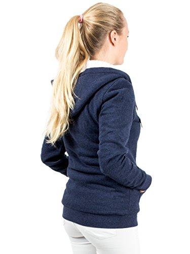 Capucha Cálido Abrigo Sudadera Forrado Mujer Para Sweat Azul Azul Chaqueta Con Hoodie 5z66qnxOa