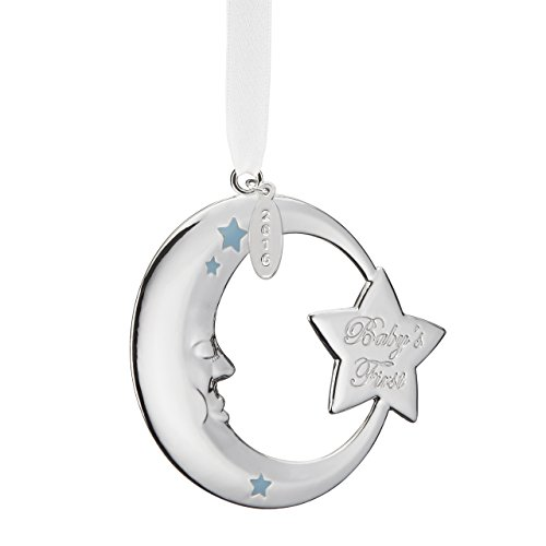 Reed & Barton Baby's First Christmas Moon Ornament- Blue ()